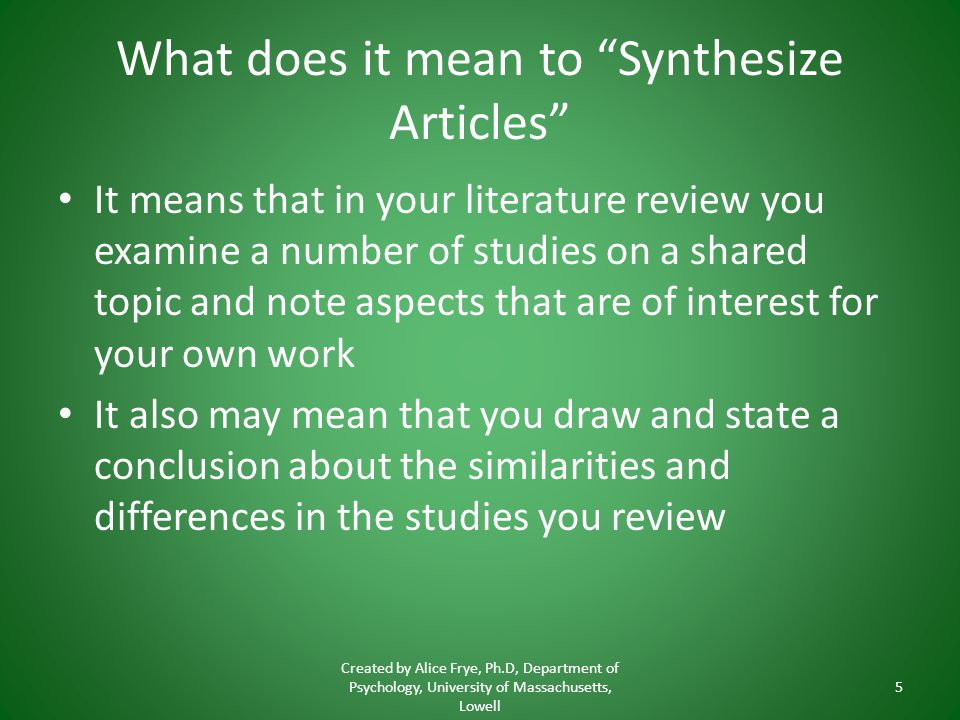 What does it mean to Synthesize Articles