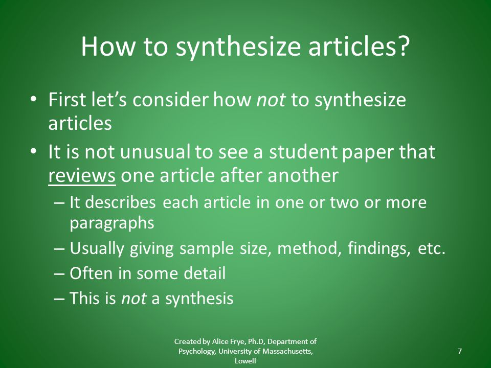 How to synthesize articles