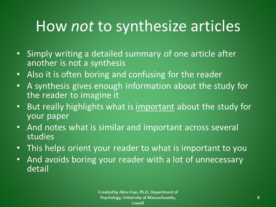 How not to synthesize articles