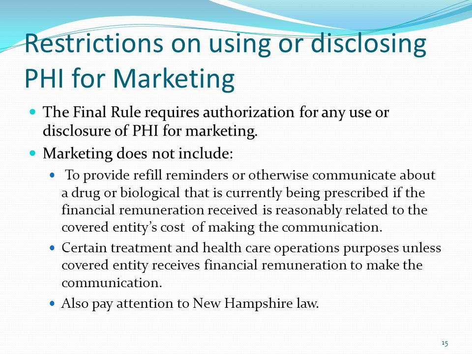 Restrictions on using or disclosing PHI for Marketing