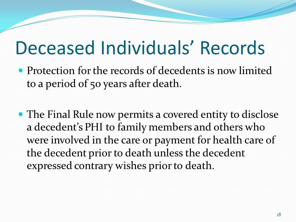 Deceased Individuals' Records