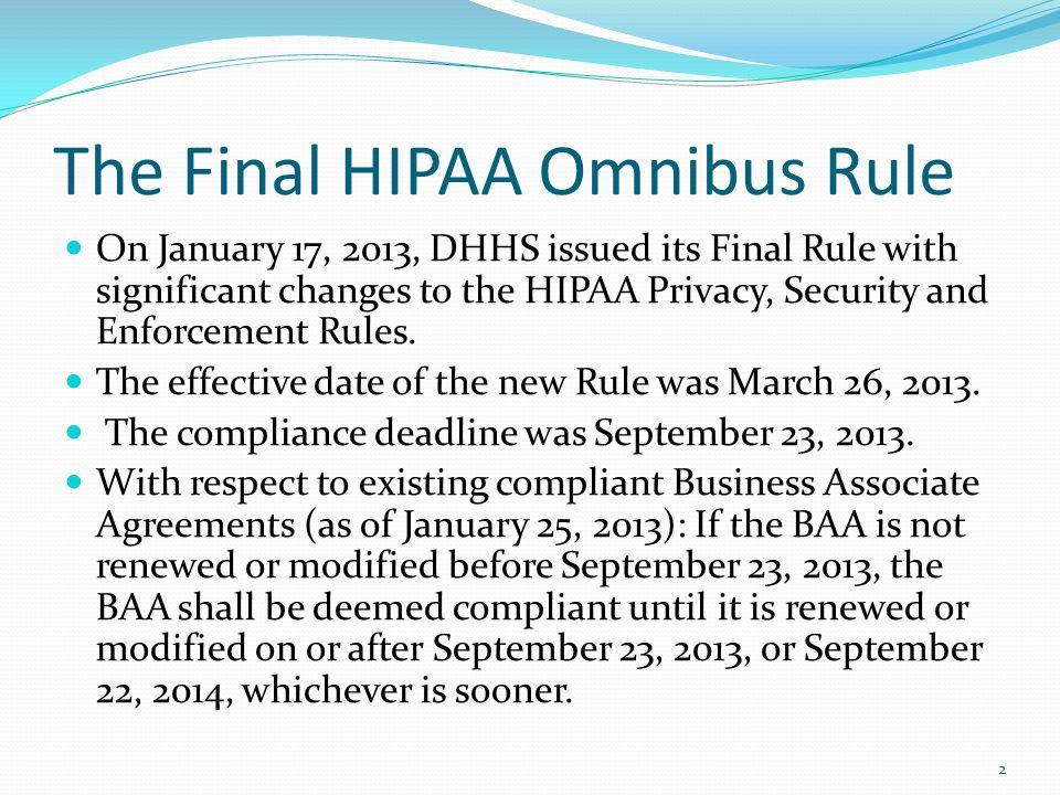 The Final HIPAA Omnibus Rule