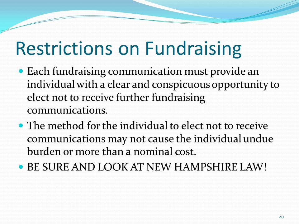 Restrictions on Fundraising
