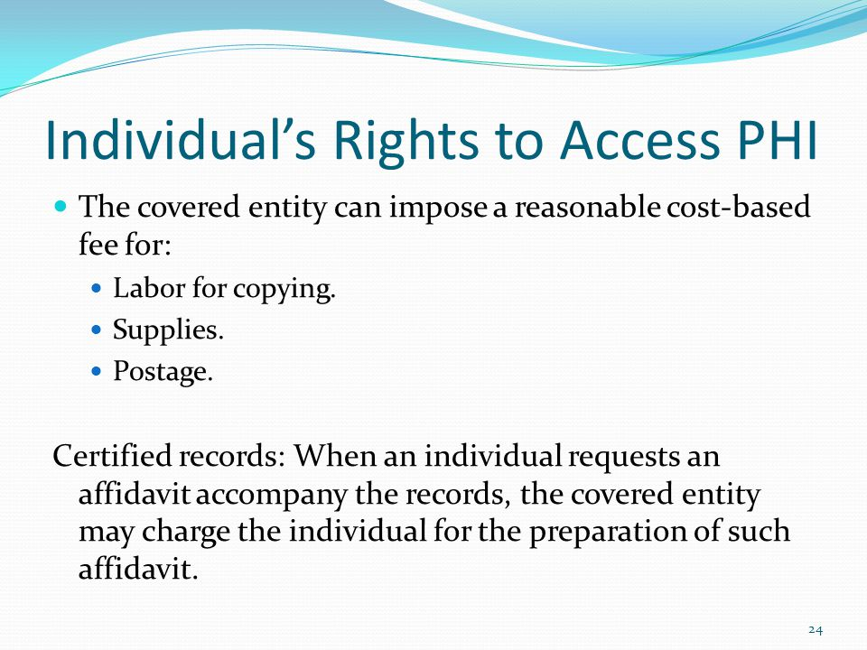 Individual's Rights to Access PHI
