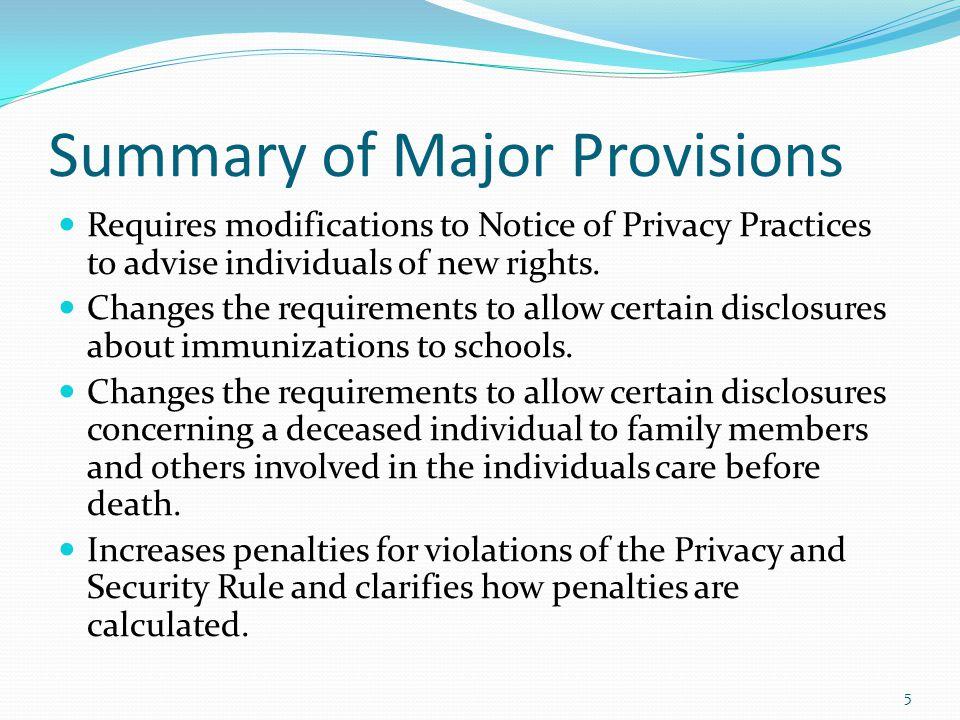 Summary of Major Provisions