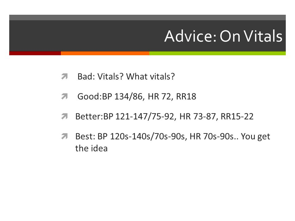 Advice: On Vitals Bad: Vitals What vitals