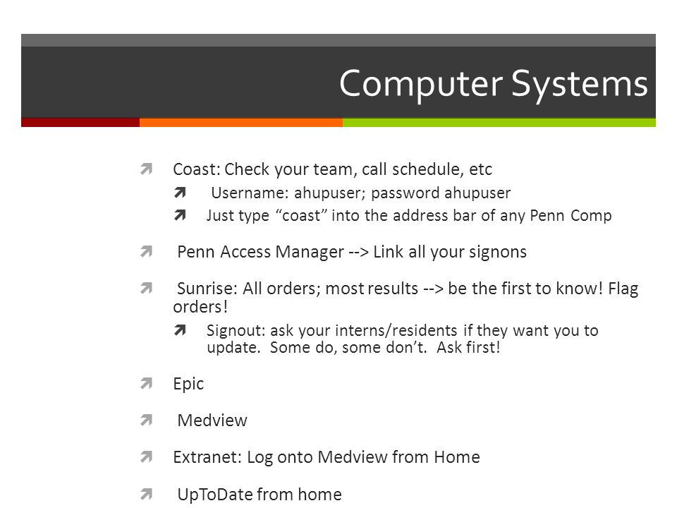 Computer Systems Coast: Check your team, call schedule, etc