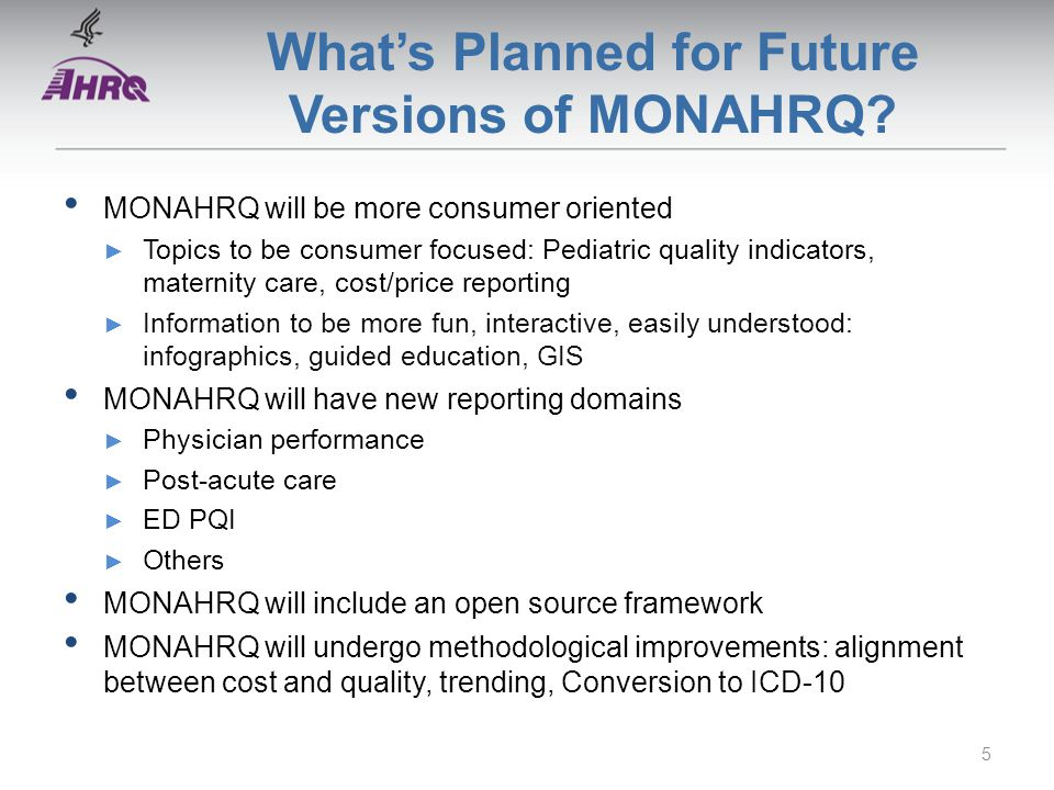 What's Planned for Future Versions of MONAHRQ