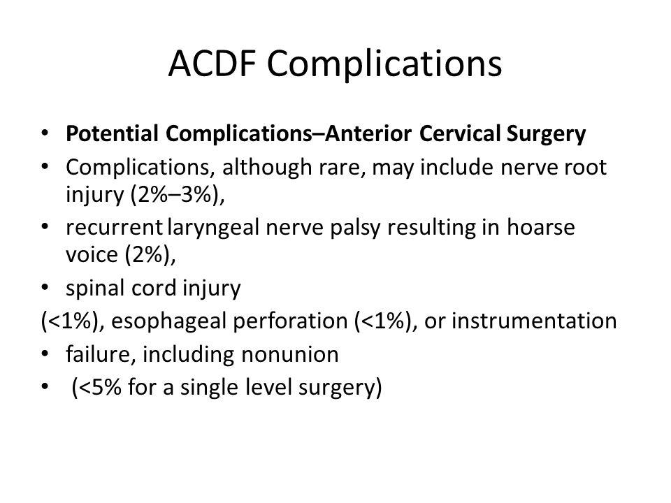 ACDF Complications Potential Complications–Anterior Cervical Surgery