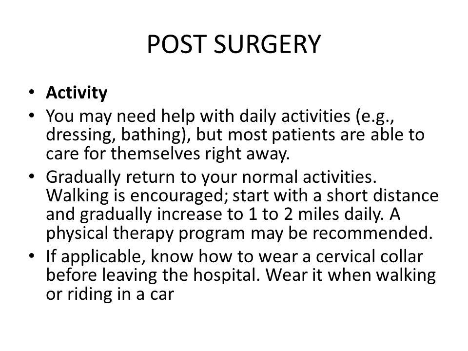 POST SURGERY Activity.