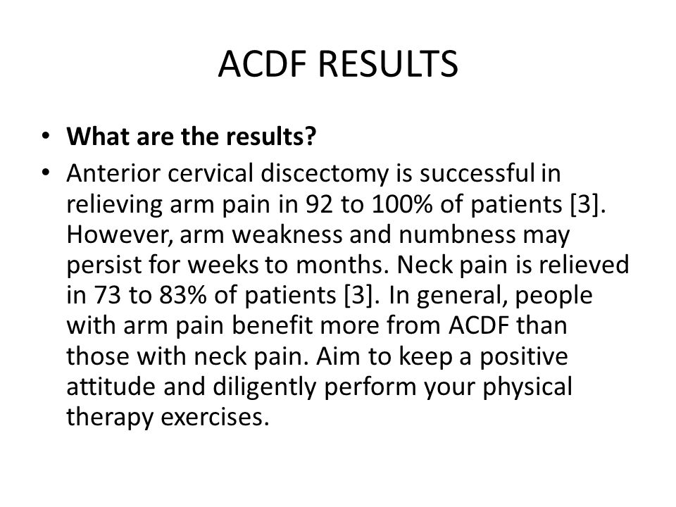 ACDF RESULTS What are the results