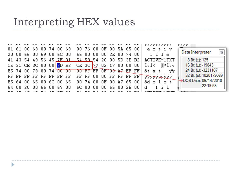 Interpreting HEX values