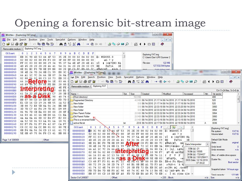 Opening a forensic bit-stream image