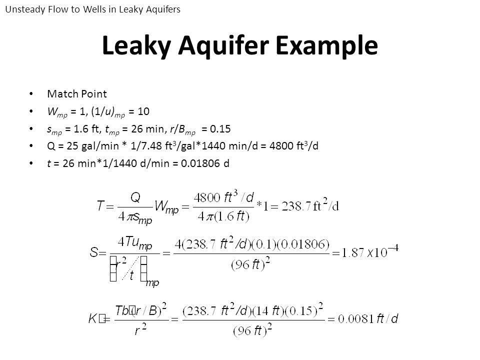 Leaky Aquifer Example Match Point Wmp = 1, (1/u)mp = 10