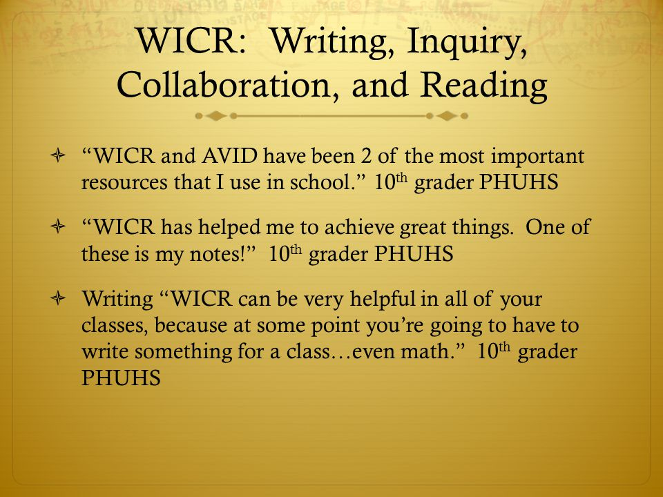 WICR: Writing, Inquiry, Collaboration, and Reading