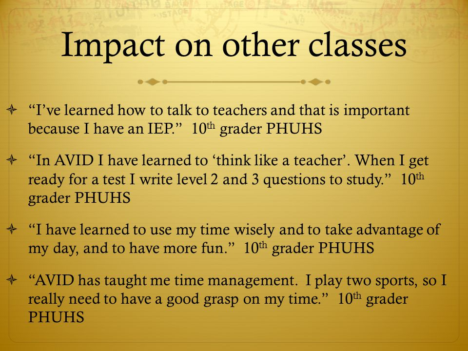 Impact on other classes