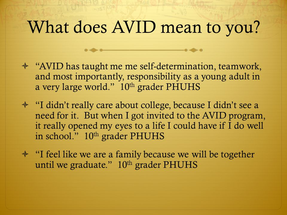 What does AVID mean to you