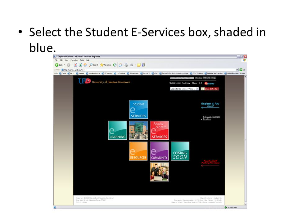 Select the Student E-Services box, shaded in blue.