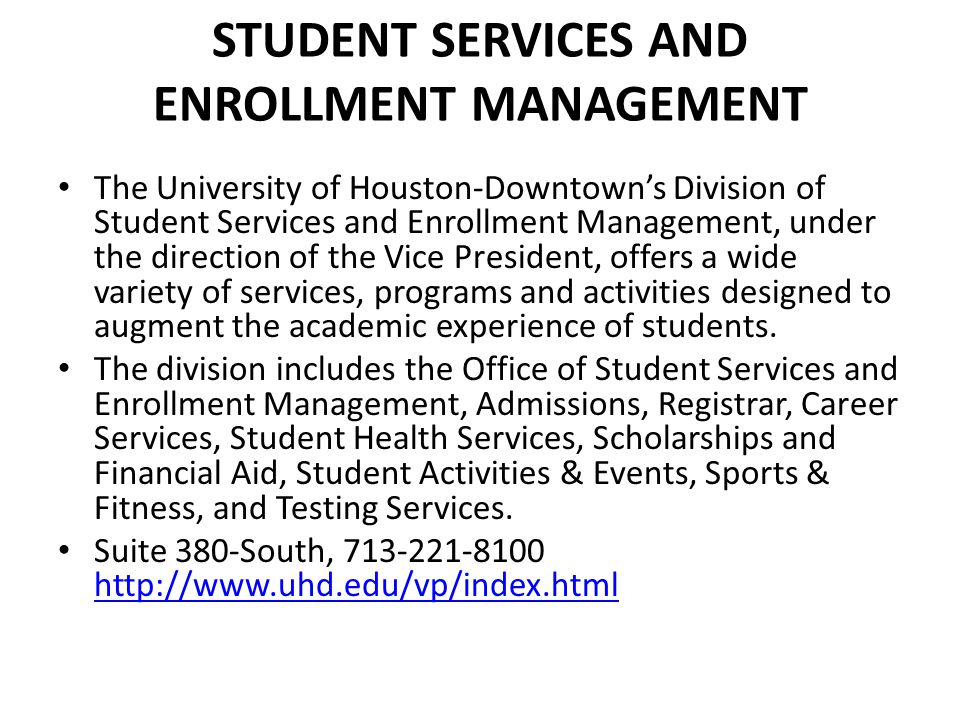 Student Services and Enrollment Management