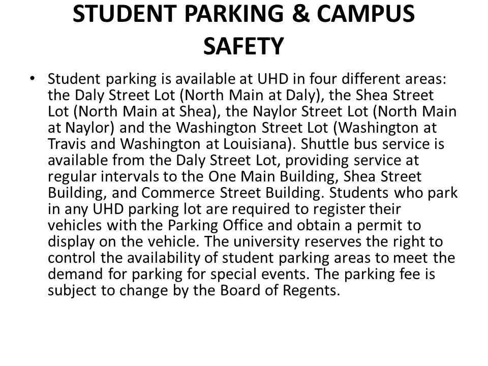Student Parking & Campus Safety