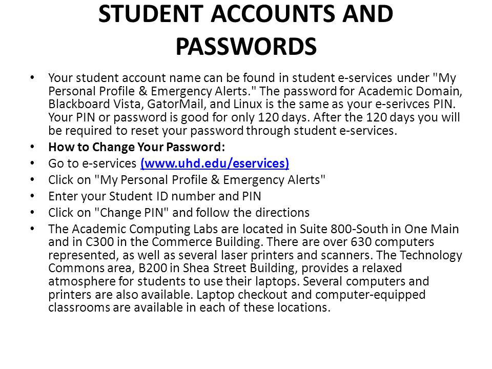 Student Accounts and Passwords