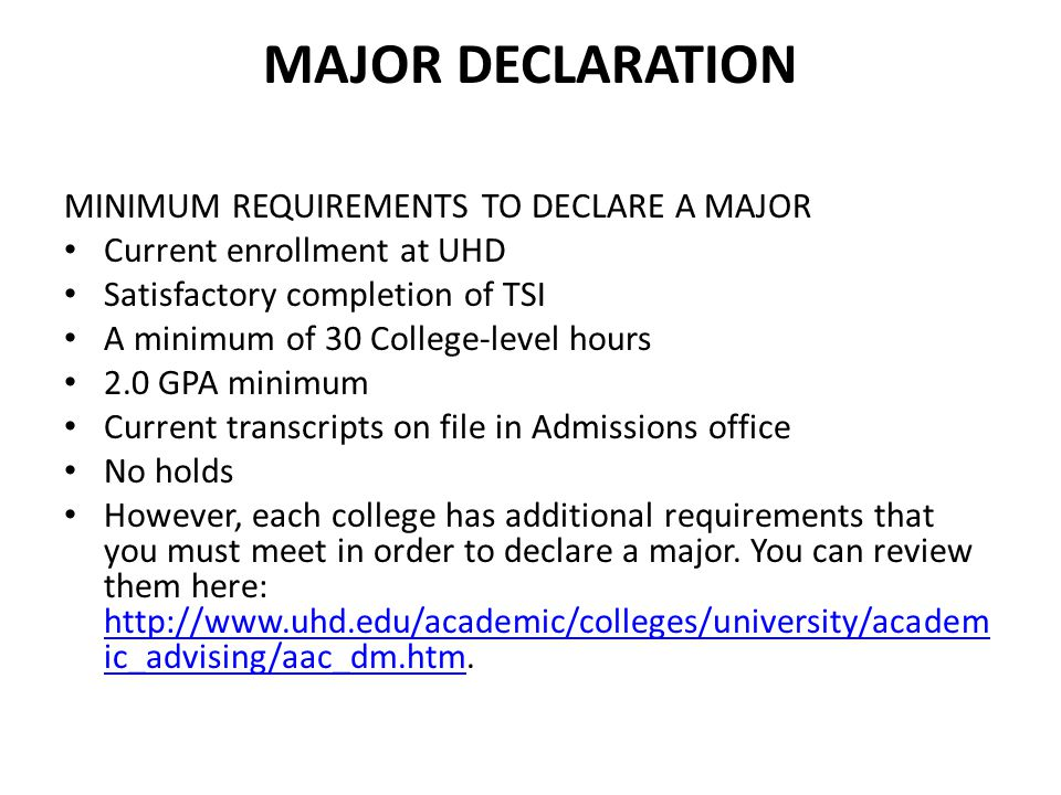 Major Declaration MINIMUM REQUIREMENTS TO DECLARE A MAJOR