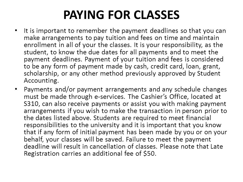 Paying for Classes