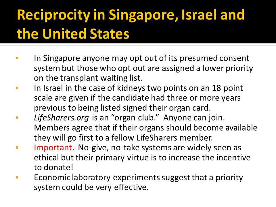 Reciprocity in Singapore, Israel and the United States
