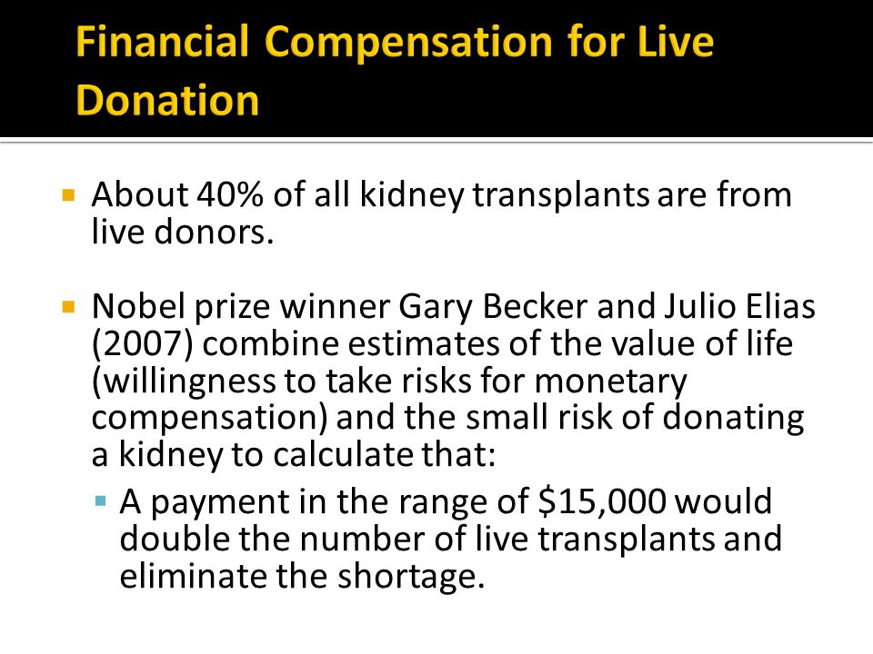 Financial Compensation for Live Donation