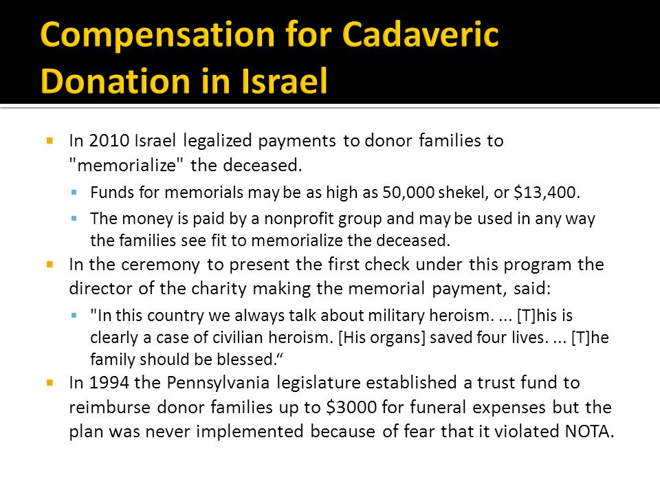 Compensation for Cadaveric Donation in Israel