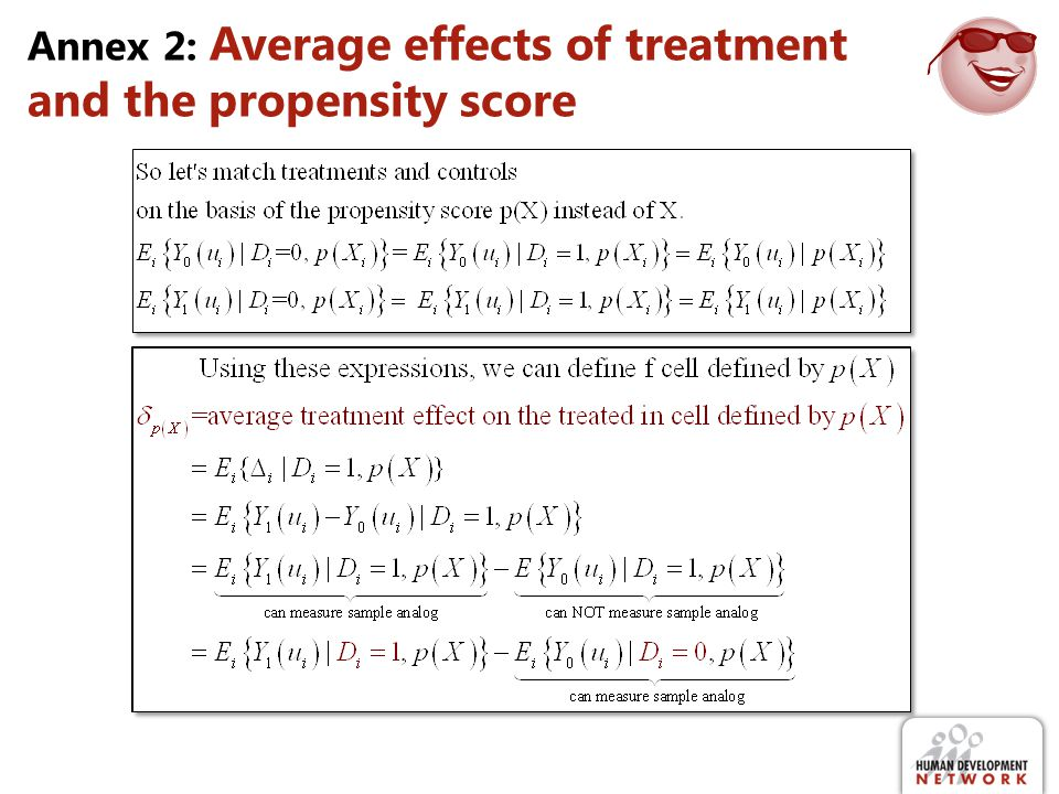 Annex 2: Average effects of treatment and the propensity score