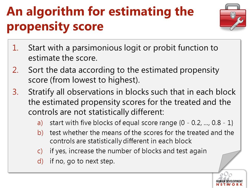 An algorithm for estimating the propensity score