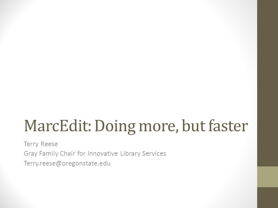 MarcEdit: Doing more, but faster
