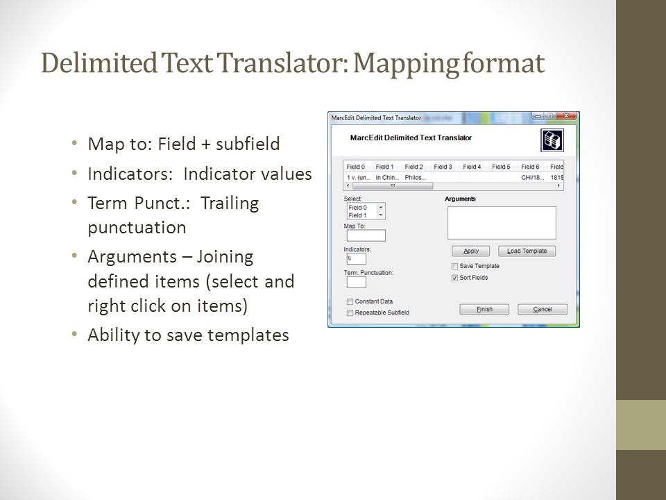 Delimited Text Translator: Mapping format