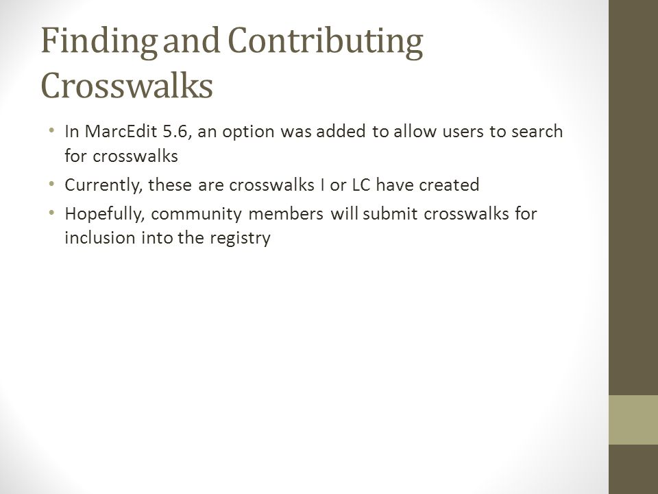 Finding and Contributing Crosswalks