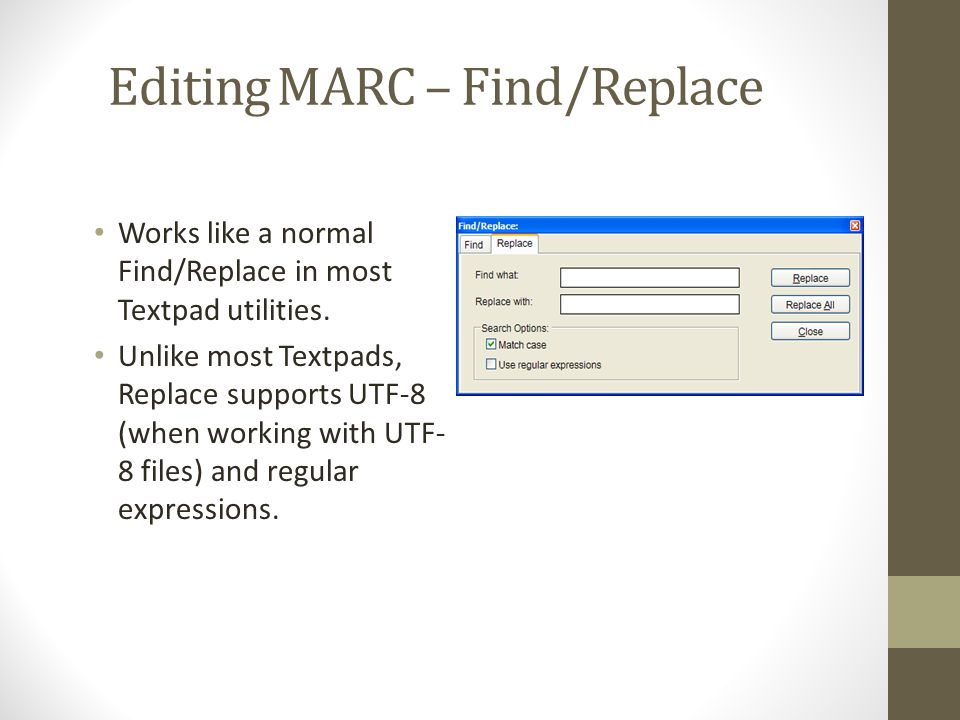 Editing MARC – Find/Replace