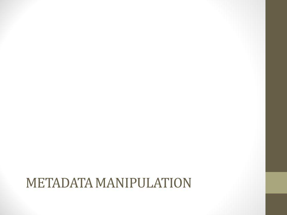 Metadata manipulation