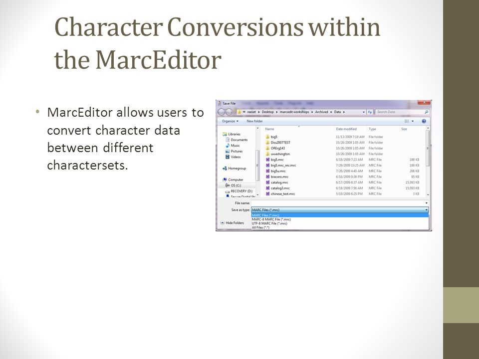 Character Conversions within the MarcEditor