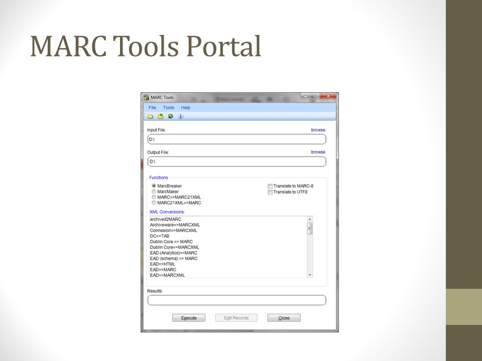 MARC Tools Portal