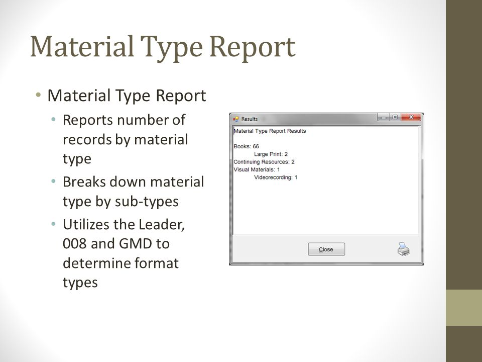 Material Type Report Material Type Report