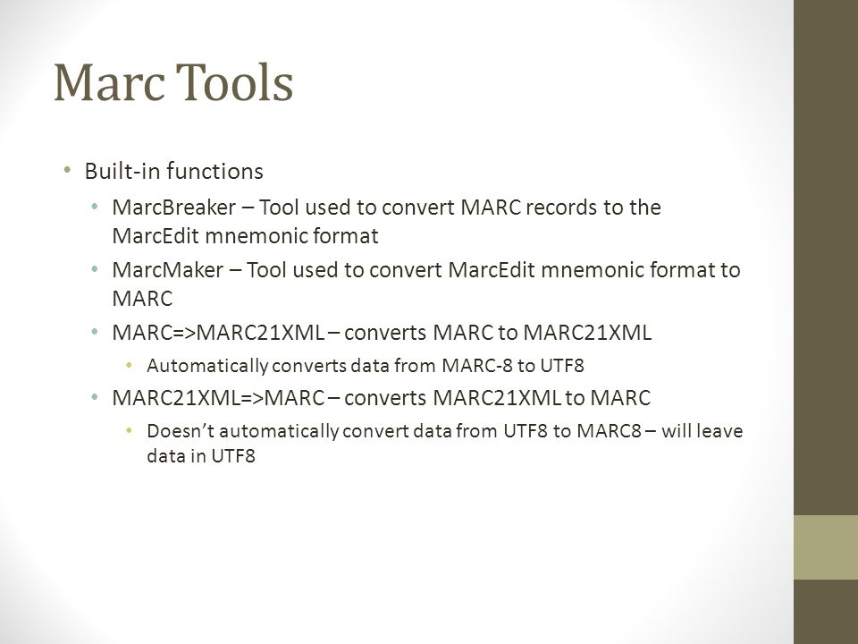 Marc Tools Built-in functions