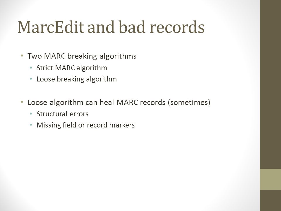 MarcEdit and bad records