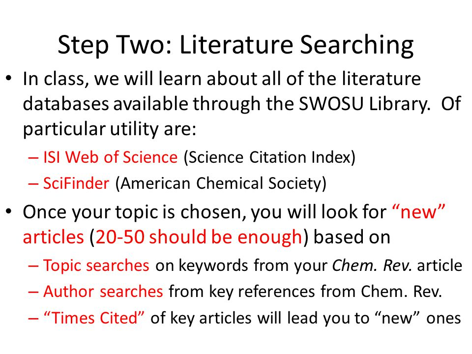 Step Two: Literature Searching