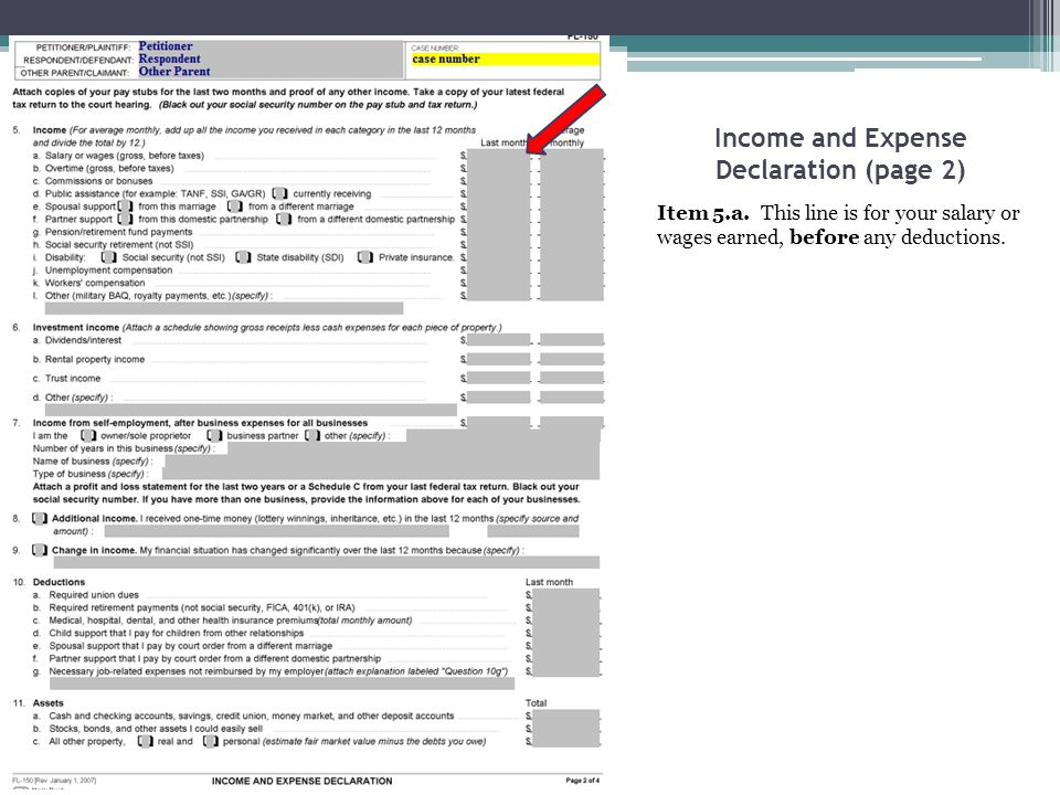 Income and Expense Declaration (page 2)