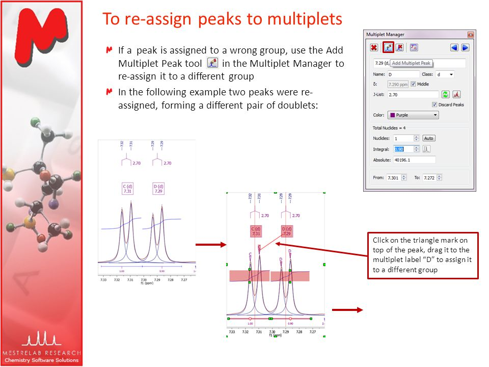 To re-assign peaks to multiplets