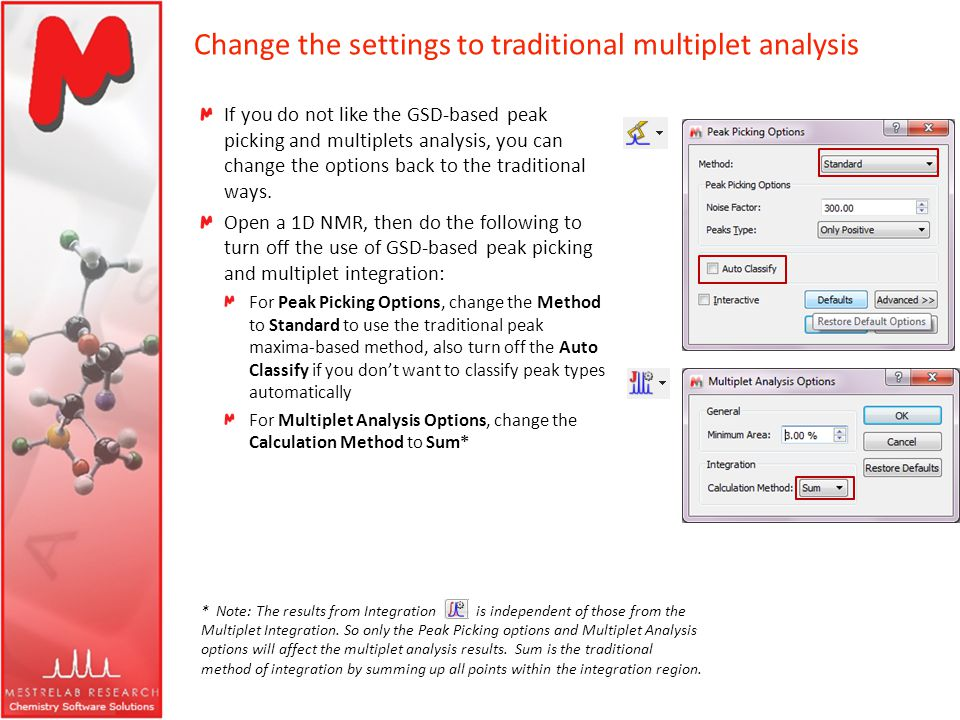 Change the settings to traditional multiplet analysis