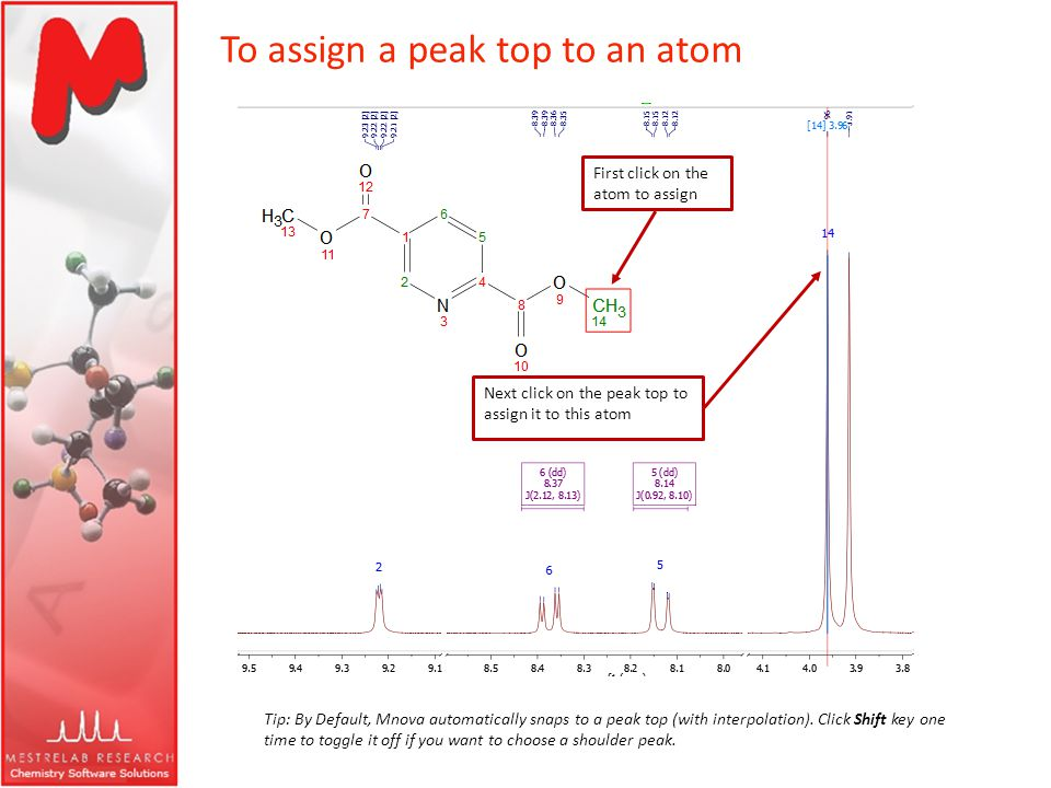 To assign a peak top to an atom