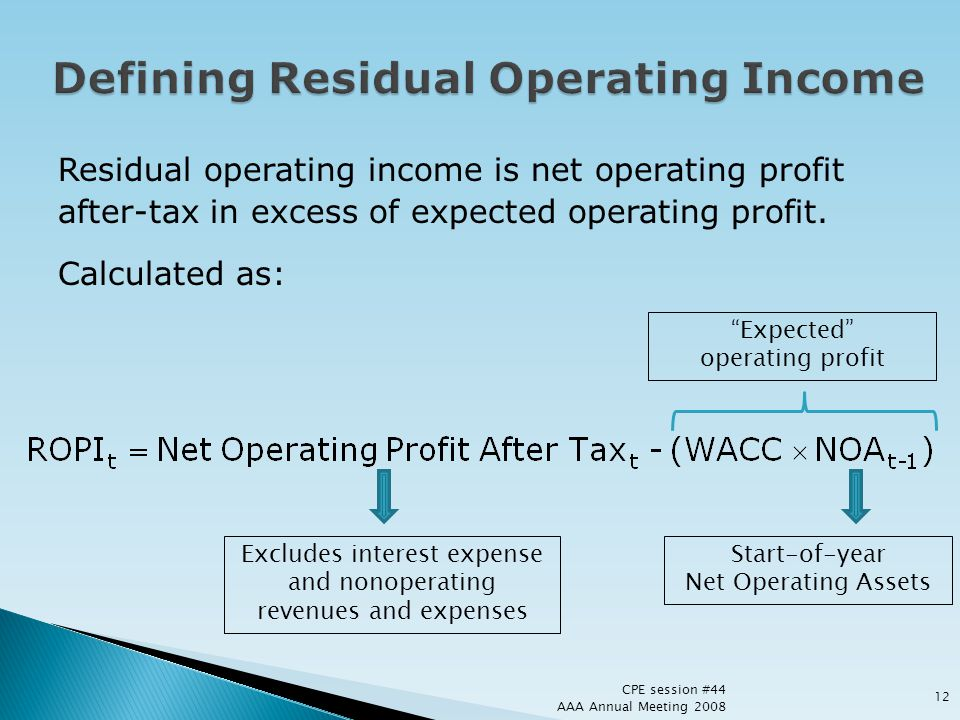 Defining Residual Operating Income