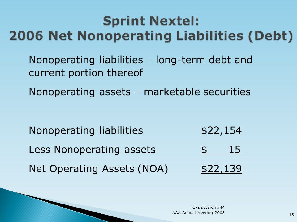 Sprint Nextel: 2006 Net Nonoperating Liabilities (Debt)