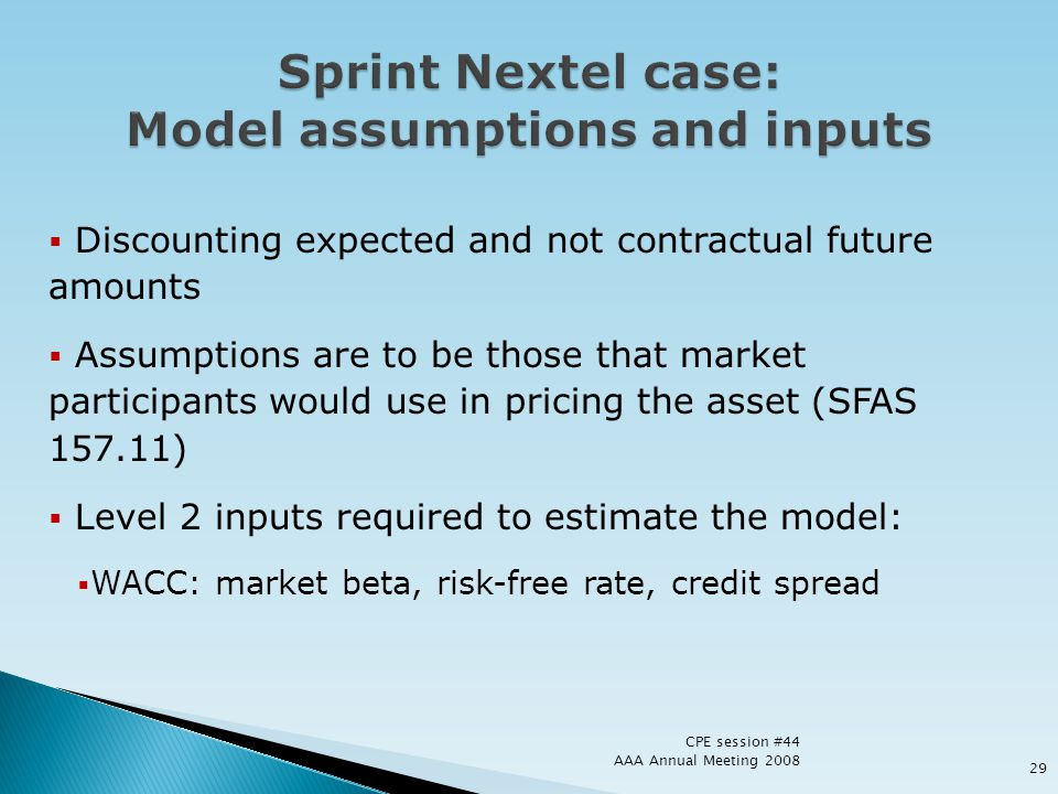 Sprint Nextel case: Model assumptions and inputs